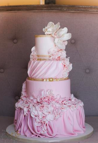 Pink and gold couture wedding cake inspired by Vera Wang