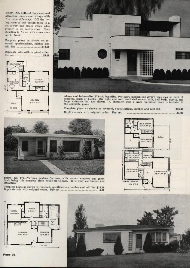 Art Deco Style Homes From A Plan Book From The L F Garlinghouse Co Topeka Kansas In 1950 Art Deco Home Art Deco Architecture Vintage House Plans