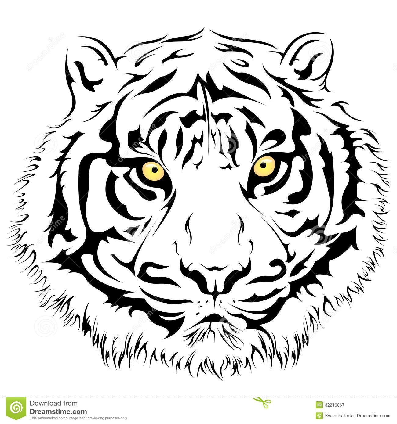 tiger face vector illustration 32219867 jpg 1300 1390 tigers