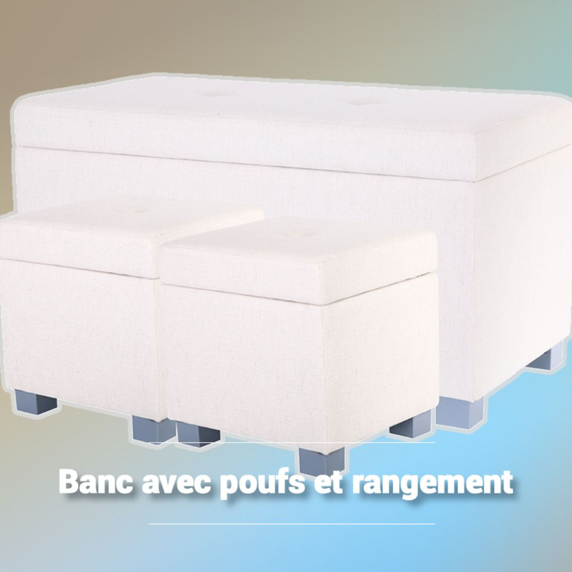 Banc Avec Poufs Et Rangement Scandinave La Foir Fouille Rangement Banc De Rangement Banc