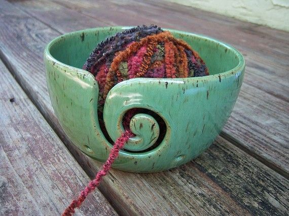 yarn bowl ceramic stoneware clay in bright spring green glaze spiral design with 2 holes. Black Bedroom Furniture Sets. Home Design Ideas