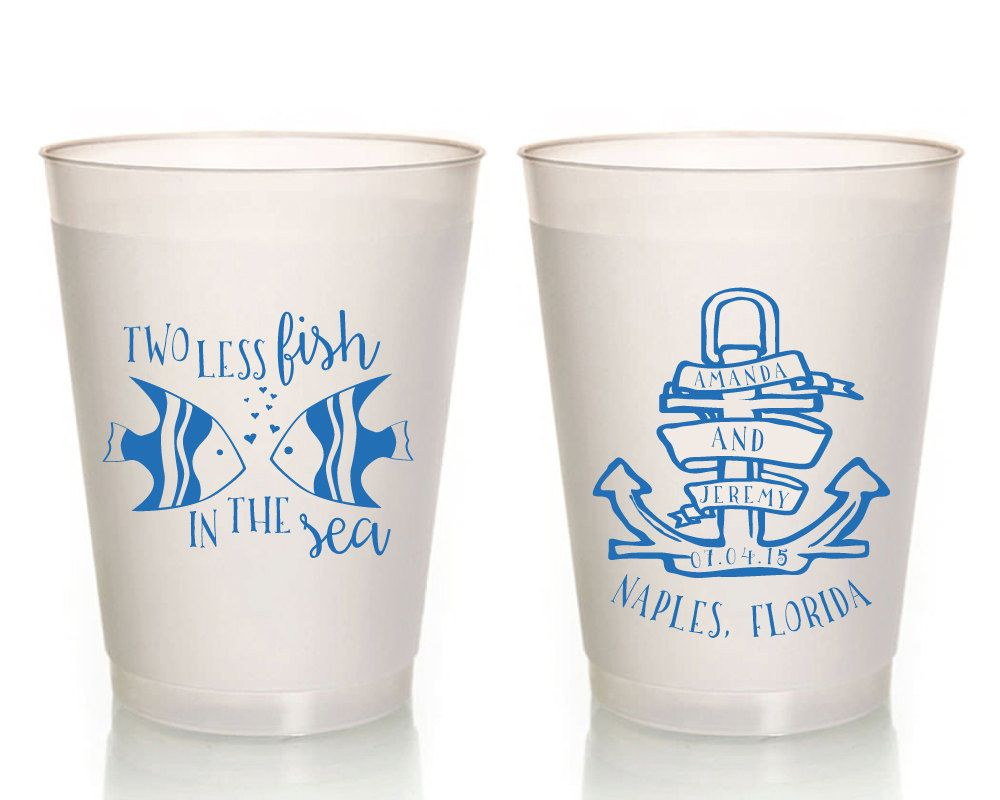 Two Less Fish In The Sea Wedding Cups, Anchor Wedding Favor ...