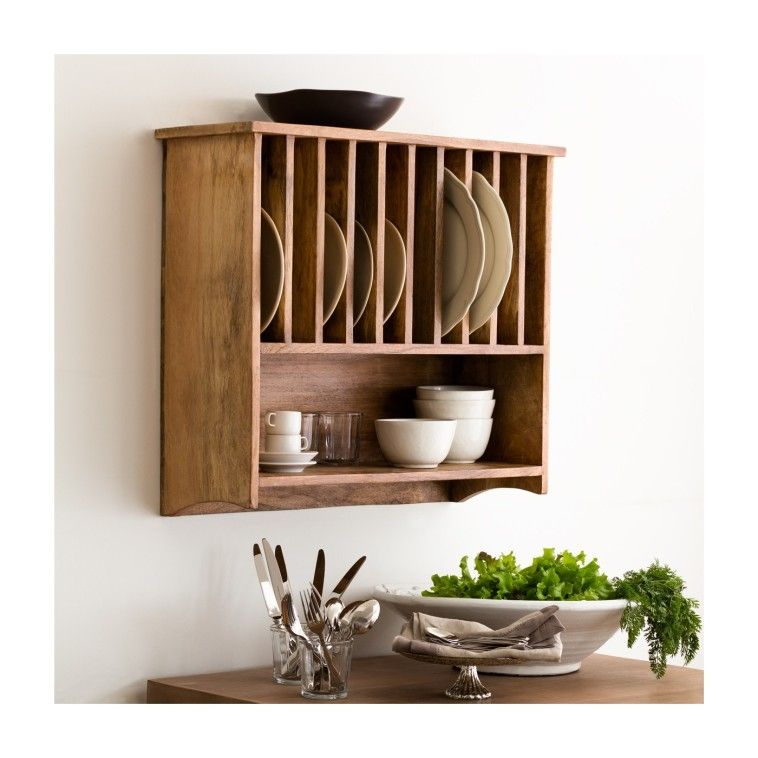 Interior Rustic Unfinished Wooden Plate Rack With Bottom Shelf