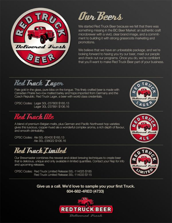 Red Truck Craft Beer Sell Sheets Pinterest - sample sell sheet