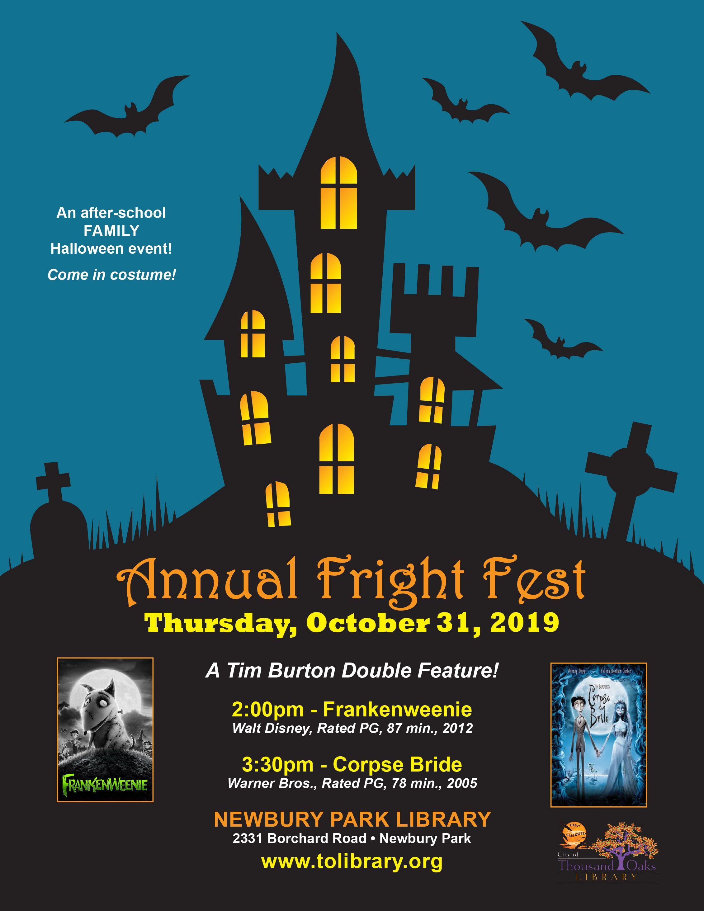 Annual Fright Fest At The Newbury Park Library Oct 31 2019 Halloween School Halloween Event Family Halloween