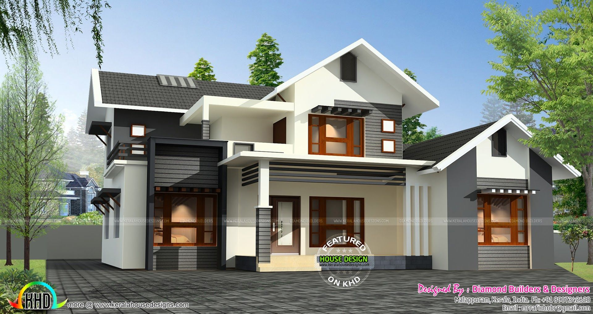 Sloping Roof Mix 1500 Sq Ft Home Kerala House Design House Remodeling Plans Modern House Design