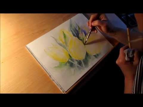 Aquarell Gelbe Tulpen Tutorial Teil 2 Youtube Blumen