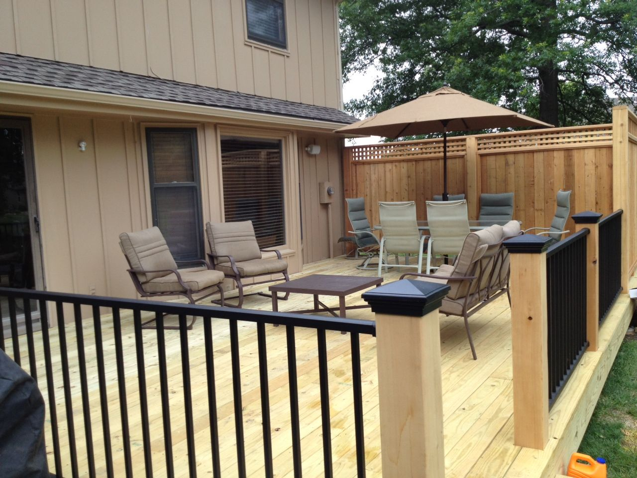 Pressure treated decking with cedar posts and privacy panels pressure treated decking with cedar posts and privacy panels westbury aluminum railing baanklon Images