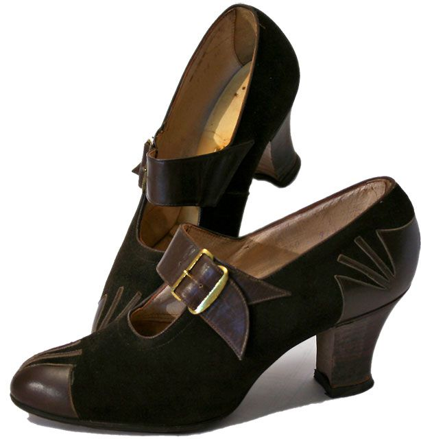 Clogs and heels were part of a woman's everyday style. The heels were made of cork due to the low supply of leather during WW2.