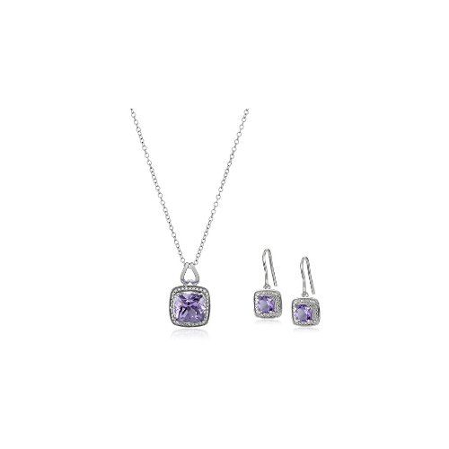 Sterling Silver Square Gemstone Earrings and Pendant Necklace Jewelry Set - $0