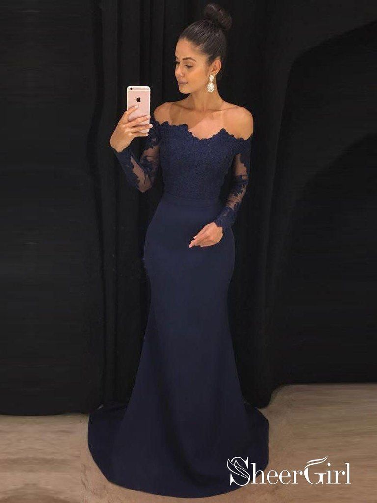 ba6d17d147 Off the Shoulder Navy Mermaid Prom Dresses with Long Sleeves APD3070 ...