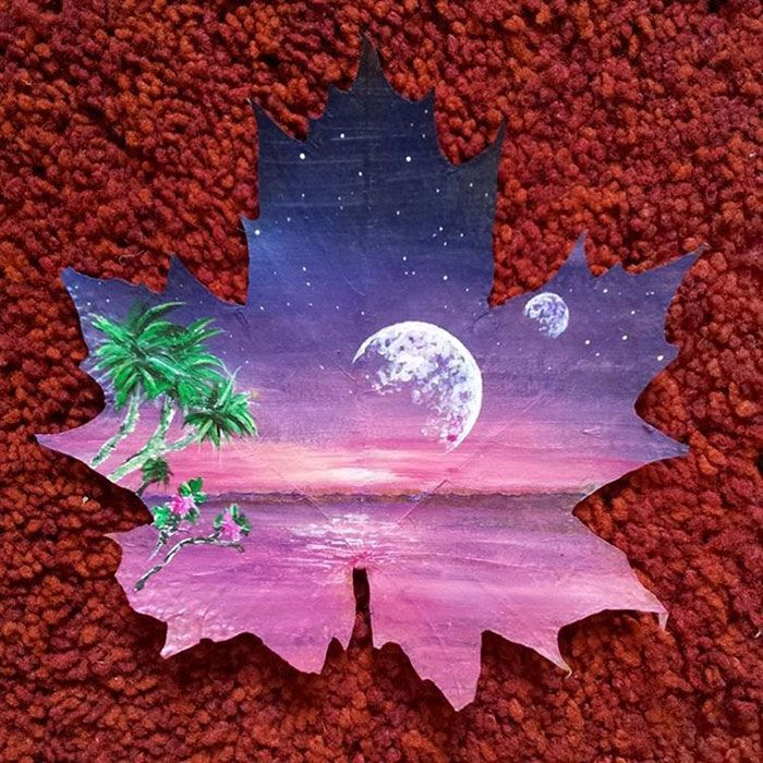 Maple Leaves Left In A Box For 15 Years Became Canvases For My Art