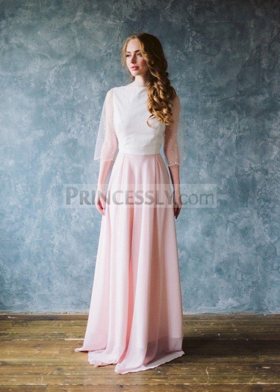 Sheer back long sleeves pink chiffon wedding dress bridal gown in