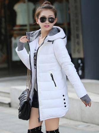 Long Hooded Thick Cotton Down Jacket Coat at Banggood