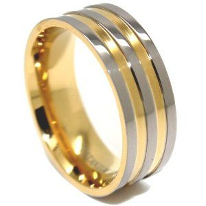 8mm Titanium Triple Gold Wedding Ring Mens Wedding Rings Mens