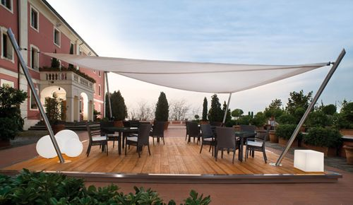 A Cool Sun Shade Sail Setup. Nicely Done, The Lighting Is A Great Touch