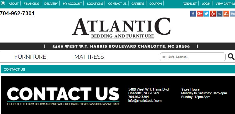 Atlantic Bedding and Furniture Stores in Charlotte NC  Atlantic