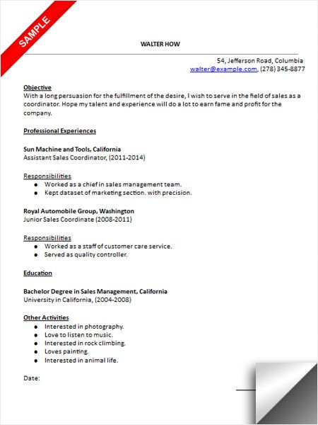 Sales Coordinator Resume Sample Resume Examples Pinterest