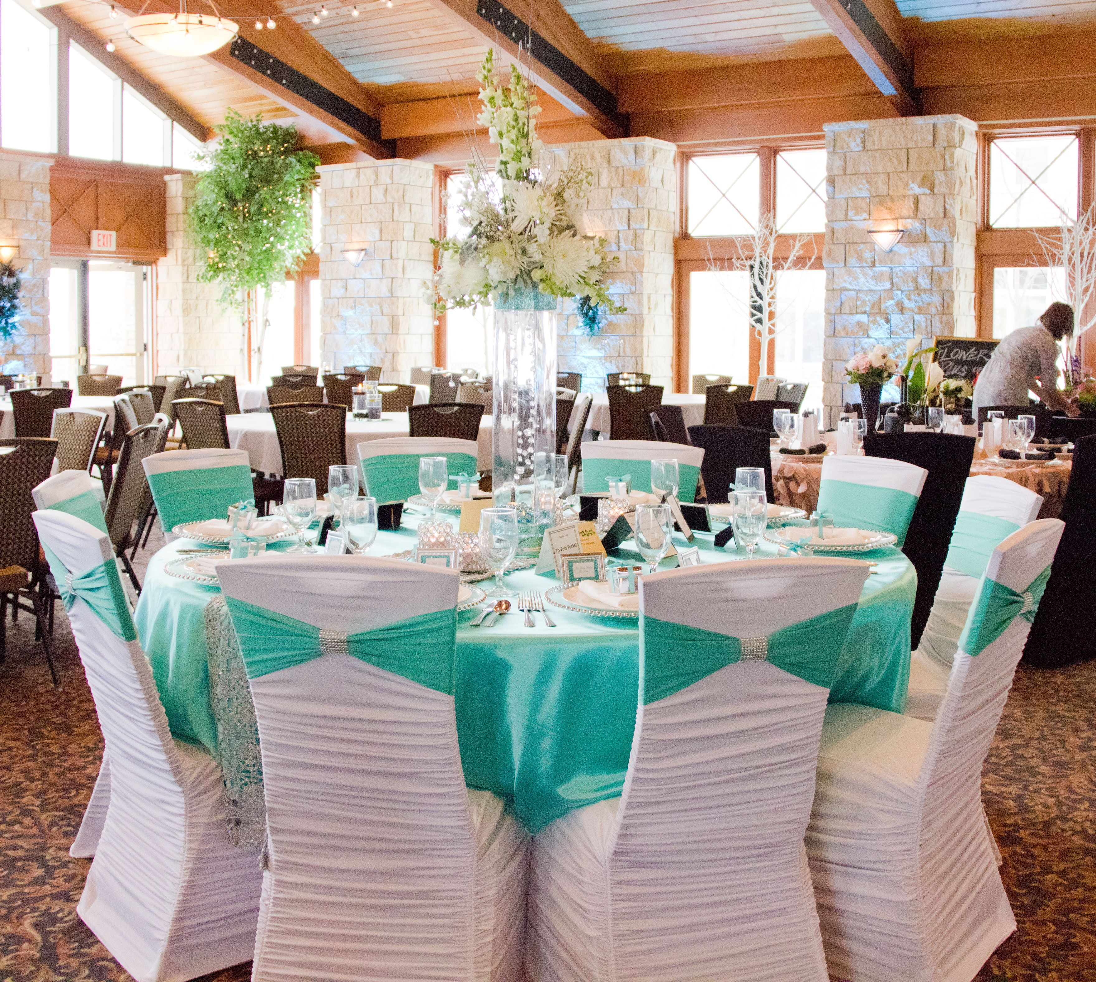 white ruched chair covers cheetah print heel cover tiffany blue spandex sash and