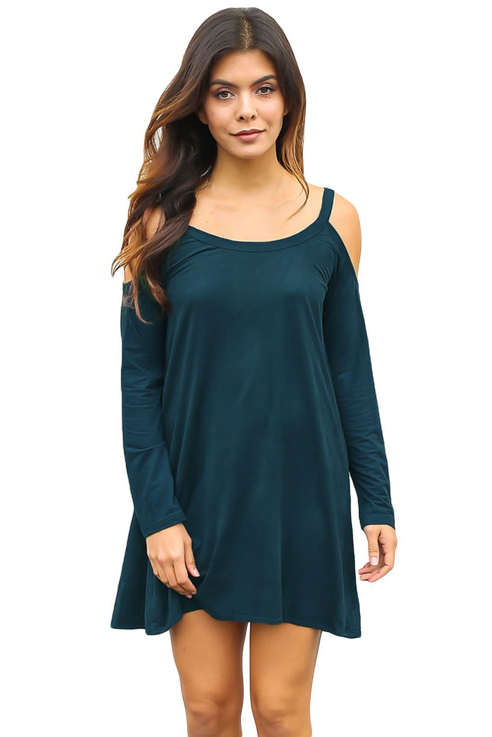 Chicloth Blue Sexy Cute Cold Shoulder Flared Cotton Dress   Products ... 578dd12af80b