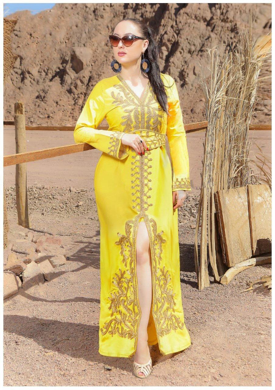 جلابية باللون الأصفر تطريز يدوي كود 115 فستان جلابية نسائية قفطان مغربي متجر الملكة Fashion Saree Sari