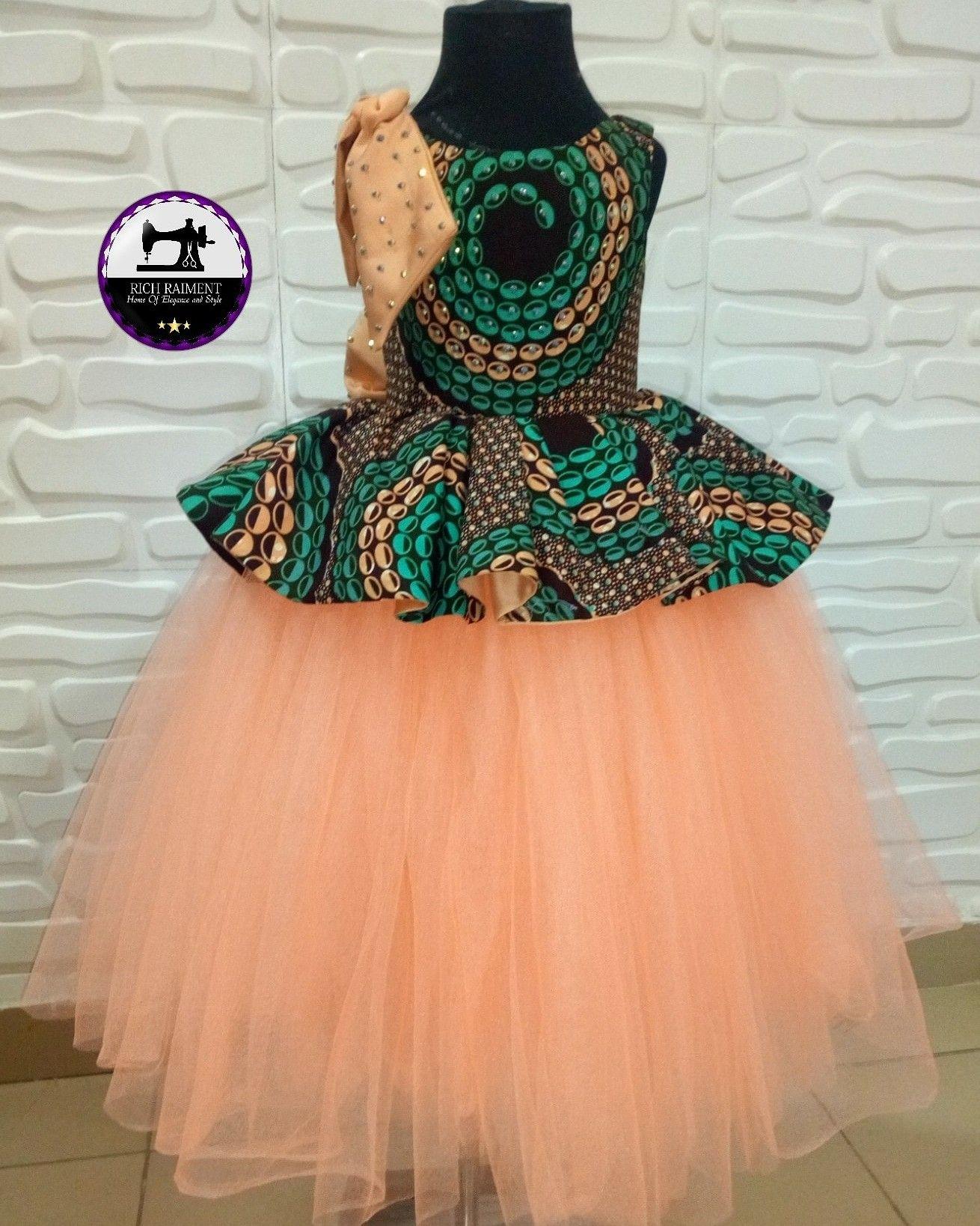 7e7108d637 Ankara inspired girls ball dress | Ankara tutu ball dress in 2019 ...