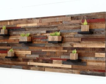 Wood Wall Art With Shelves Made Of Reclaimed Barnwood