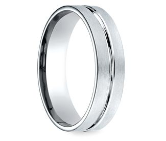 Center Cut Carved Mens Wedding Ring in Palladium Ring Wedding