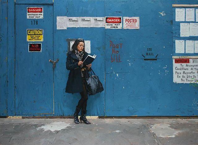 Blue Wall oil on canvas  #newyorkcity #contemporaryrealism #oilpainting #fineart #blue #urbanportrait