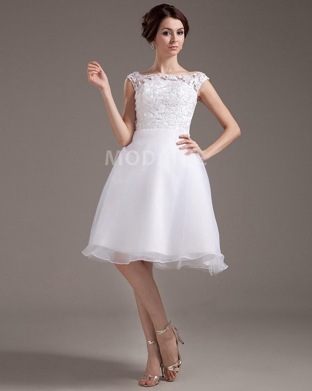 Short Wedding Dresses Styles Cheap Online Half Sleeve Court Lace Dress Ivory A Line Chiffon Krikor: Cher Short Sleeves Wedding Dresses At Websimilar.org