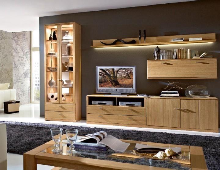 Wohnwand Anbauwand 4-teilig 451332 eiche teilmassiv Amazonde - küche eiche rustikal