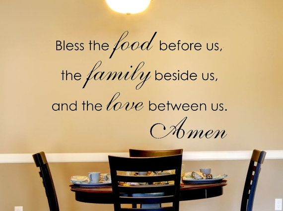 Kitchen Wall Decal - Family Wall Decal - Bless the Food Before Us ...