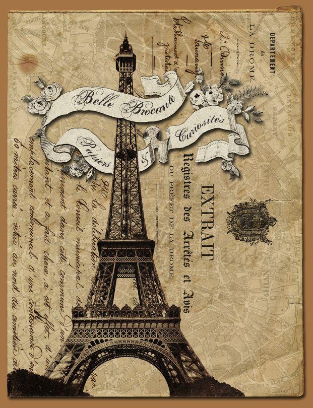 Винтажная открытка париж, апельсином рабочий стол