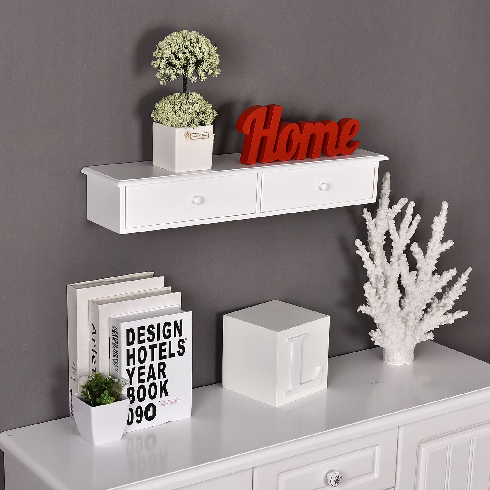 Welland Wall Mounted Storage Shelf With 2 Drawers White Shelves Entryway Wall Shelf Wall Shelves