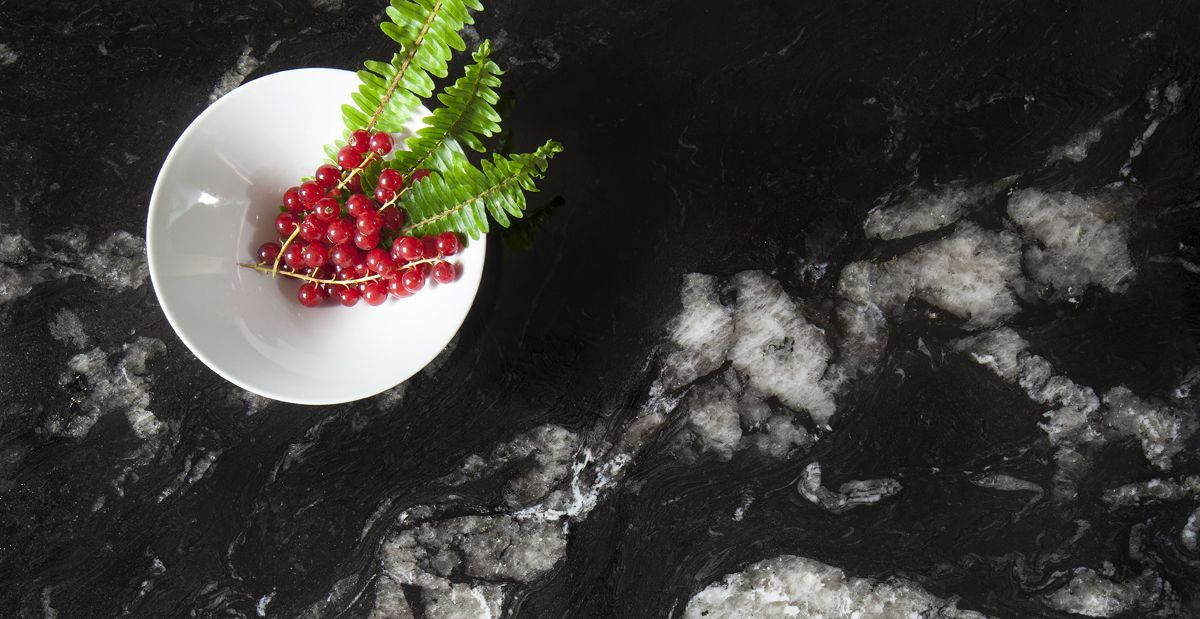 #Granith, Dark Pearl. The collection is ideal for kitchen and bathroom worktops, flooring, interior wall cladding applications and exterior façades. Available in Polished finish, it features eleven vibrant and rich colours.