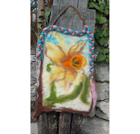 Wall felt pictureThe Narcissus handmade OOAK by RumiWay on Etsy, $49.00
