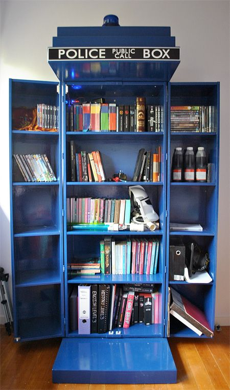 Unique Bookcase Looks Like Iconic TARDIS Time Machine Police Box From The Doctor Who Television Show Created By Morgan Louise Stores