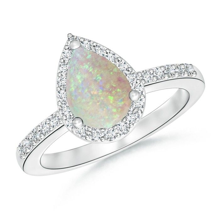 Angara Oval Opal and Diamond Halo Ring with Bezel-Set Emerald in White Gold ABRA0J5s