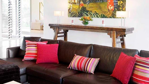 How To Decorate Your Living Room With Cushions Brown Sofa Decor Cushions On Sofa Red Accents Living Room
