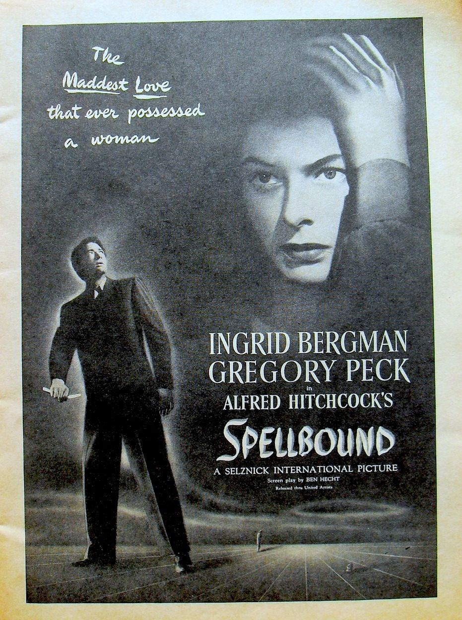 Spellbound, Ingrid Bergmann, Gregory Peck by Hitchcock