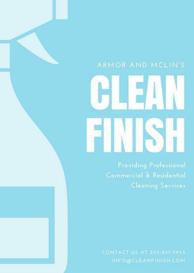 Light Blue Hand Brush And Spray Cleaning Flyer Flyer Pinterest