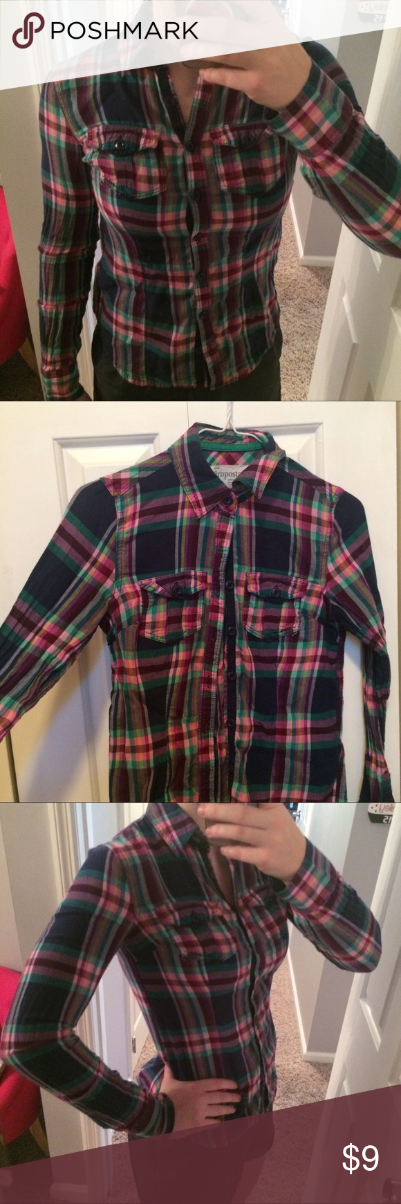 Flannel jacket with fur inside  Multicolor Flannel Shirt Multi color Aeropostale flannel shirt In