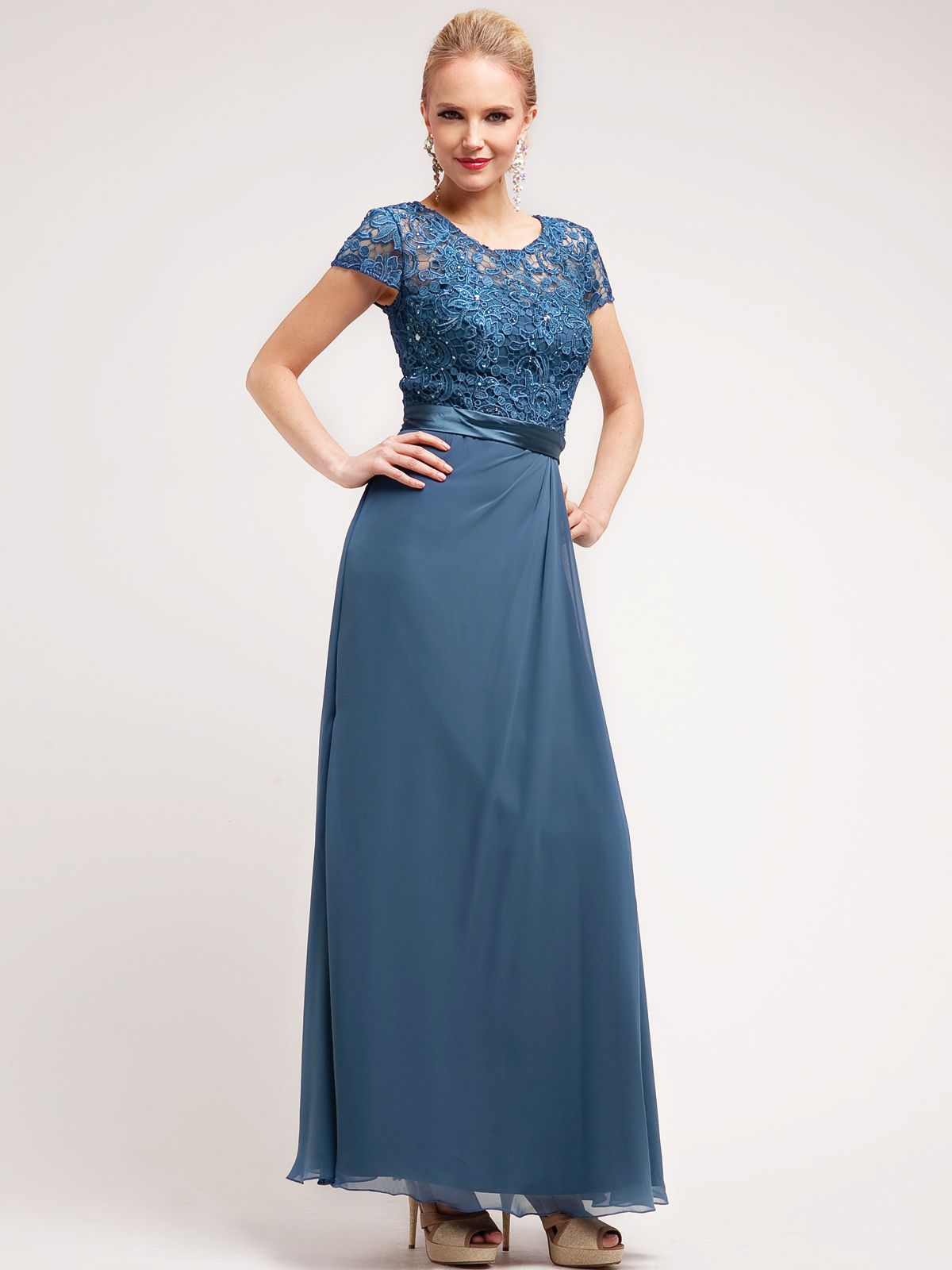 Elegant Lace and Floral Top Chiffon Evening Dress | Sung Boutique ...