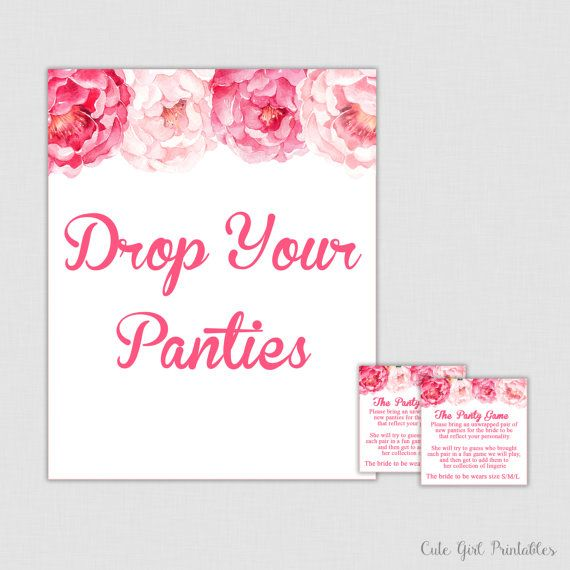 bridal shower games pink peonies panty game panties underwear bachelorette party bachelorette game drop your panties 0012p