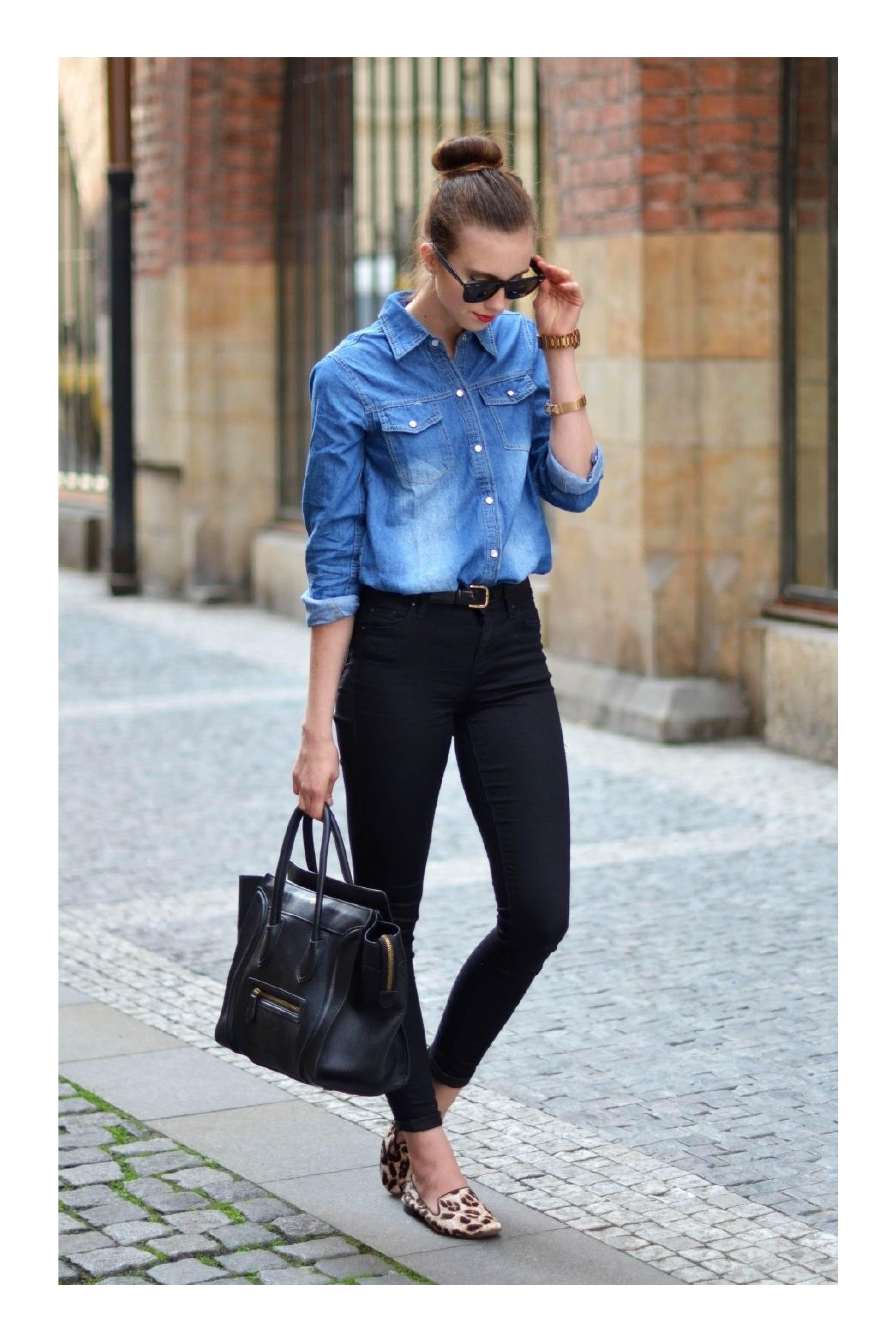 5310d707df 6 prendas de denim que no deben faltar en tu guardarropa  TiZKKAmoda  blusa   denim  pantalón  negro  flats  animalprint  lentes  bolsa  casual