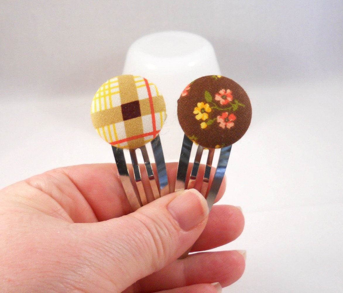 Large Hair Clips Hair Accessories for Teens Fabric Button Snap Clips Brown Yellow Orange Plaid and Flowers Hair Barrette Set Gift Set by foreverandrea on Etsy