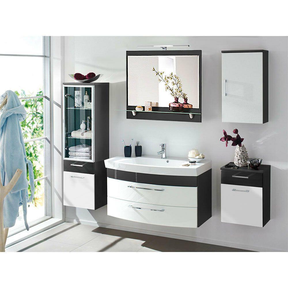 Badezimmer Bad Hochschrank Unterschrank Waschplatz Anthrazit Hochglanz Weiss Ebay In 2020 Badezimmer Set Badezimmer Mobel Spiegelschrank