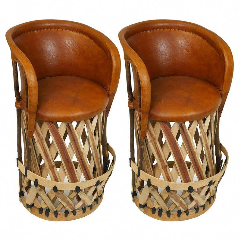 Set of 2 - Mexican Equipale Bar Stools with Cushioned Seat ...