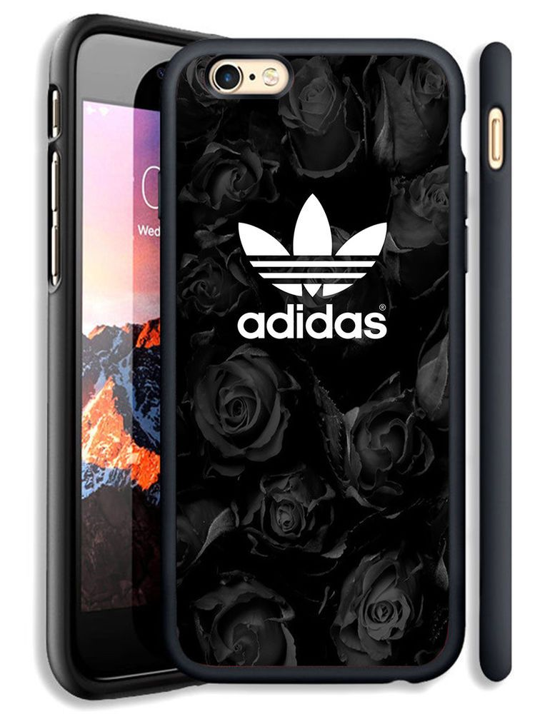 best sneakers 4b5cb 7b1d9 Black Rose Adidas White Logo Fit Hard Case For iPhone 6 6s Plus 7 8 ...