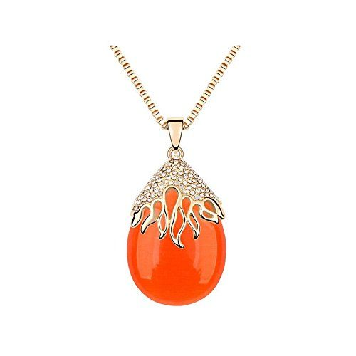 Collier long sautoir plaqué or avec pendentif en pierre ?il de chat NEUF livraison gratuite Couleur - Orange: Amazon.fr: Bijoux